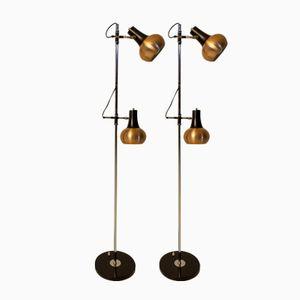 Mid-Century Modern Copper Floor Lamps, 1970s, Set of 2