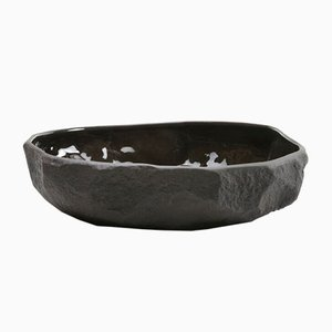 Large Flat Bowl in Black Basalt from the Crockery Series by Max Lamb for 1882 Ltd