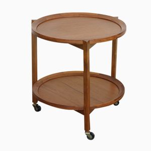 Round Mid-Century Teak Serving Trolley from Sika Møbler