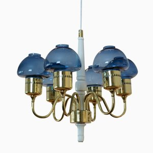 Model T-526 Brass Chandelier by Hans Agne Jakobsson for AB Markaryd
