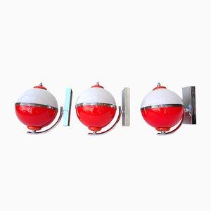 Applique in vetro di Murano rosso e bianco, Italia, anni '60, set di 3