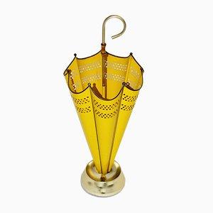 Italienischer Schirmständer aus Eisen, Aluminium & Lackiertem Messing, 1950er