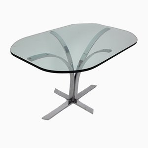 German Glass and Chrome Dining Table, 1960s