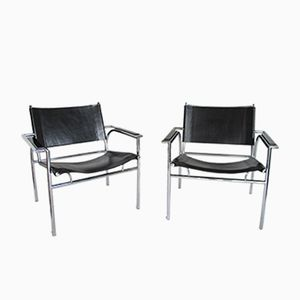 Dutch Chrome, Steel, and Leather Chairs by Gerard Vollenbrock for Leolux, 1980s, Set of 2