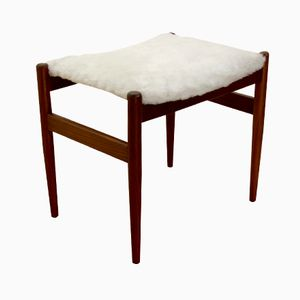 Danish Rosewood and White Wool Ottoman, 1960s