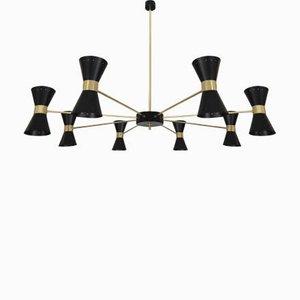 Großer Italienischer Kronleuchter mit Kegelförmigen Lampenschirmen