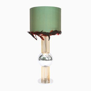 Vintage Italian Table Lamp with Feather Shade