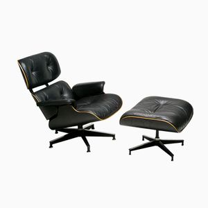 American Black 670 Swivel Chair and 671 Ottoman by Charles and Ray Eames for Herman Miller, 1972