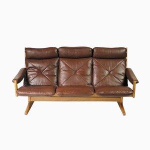 canap trois places en cuir danemark 1960s en vente sur. Black Bedroom Furniture Sets. Home Design Ideas