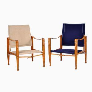 Vintage Safari Stühle in Blau & Beige von Kaare Klint für Rud Rasmussen, 2er Set