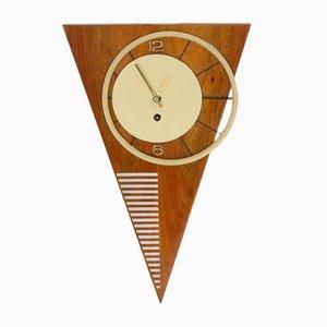 Orologio da parete Mid-Century con triangolo asimmetrico, Vienna, 1950
