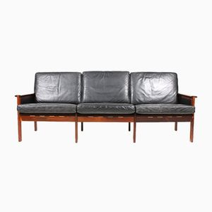 Black Leather Rosewood Sofa by Illum Wikkelso for N. Eilersen