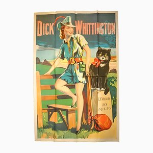 Vintage British Dick Whittington Pantomime Poster by Taylors of Wombwell, 1930s