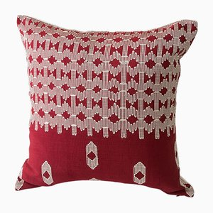 Edo Decorative Pillow in Red and White by Nzuri Textiles