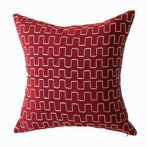 Edo Decorative Pillow-Red and Gold