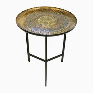 Italian Round Enameled Side Table, 1960s