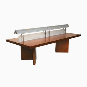 Indian Long Library Reading Table with Light by Pierre Jeanneret, 1966
