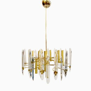 Grand Lustre Plaqué Or en Crystal à Douze Ampoules par Gaetano Sciolari