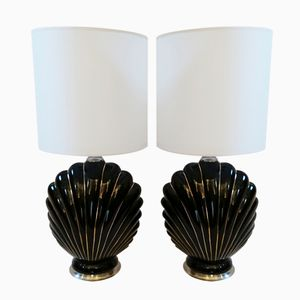 Italian Coquille Table Lamps, 1970, Set of 2
