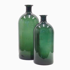 Bouteilles Antiques Vertes en Verre, 1900s, Set de 2