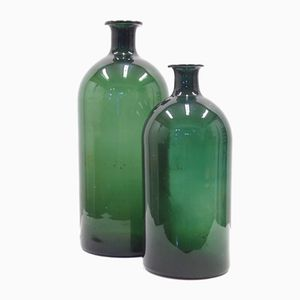 Green Antique Glass Bottles, 1900s, Set of 2