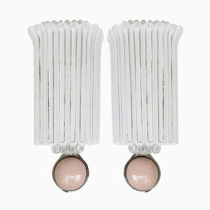 Pink and White Wall Lights from Limburg, Set of 2