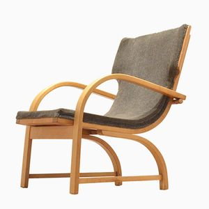 Mid-Century Scandinavian Design Relax Chair in Plywood & Grey Textile