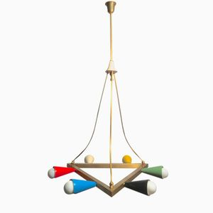 Mid-Century Italian Multicolored Triangular Brass Chandelier, 1950s