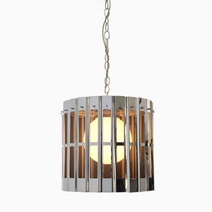 Chromed Cage Shaped Ceiling Lamp