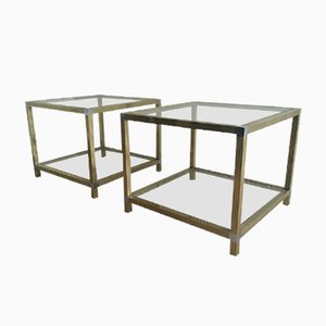 Brass & Nickel End Tables, 1970s, Set of 2