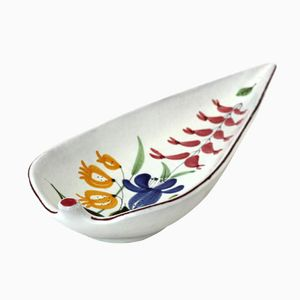 Vintage Leaf-Shaped Floral Faience Footed Bowl by Stig Lindberg for Gustavsberg