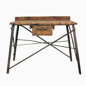 Vintage Industrial German Wood & Metal Workbench