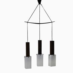 Italian Teak & Plexiglas Hanging Lamp, 1960