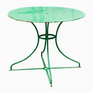 Vintage French Round Green Metal Garden Table