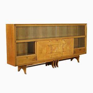 Vintage Italian Sideboard with Sliding Doors and Carved Panel, 1950s