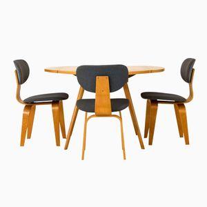 Klapptisch mit Drei Stühlen von Cees Braakman für Pastoe, 1950er