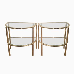 Brass Side Tables, 1970s, Set of 2