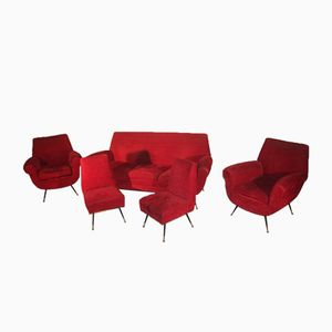 Red Velvet Living Room Set by Gigi Radice, 1950s