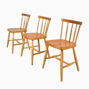 Swedish Birch Dining Chairs from Akerblom, 1950s, Set of 3
