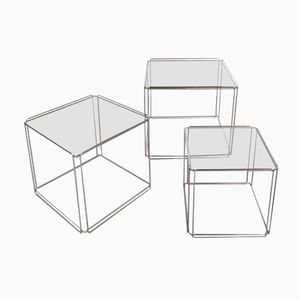 French Glass and Metal Nesting Tables from Max Suaze, 1960s, Set of 3