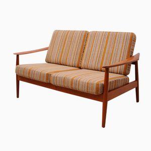 Dänisches Teak Zwei-Sitzer Sofa von Arne Vodder für France & Søn, 1960er