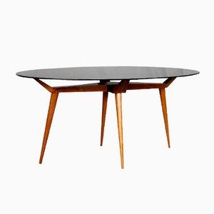 Table Ovale Mid-Century en Cristal et en Bois, Italie, 1950s