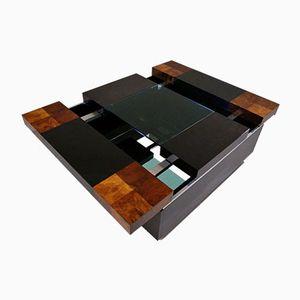 Italian Burl Wood, Glass, and Chrome Bar Table, 1970s
