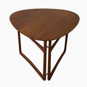 Danish Triangular Folding Table by Peter Hvidt & Orla Mølgaard-Nielsen for France & Daverkosen, 1950s