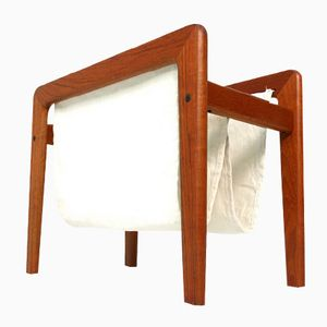 Mid-Century Danish Teak and Linen Newspaper Stand, 1960s
