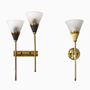 Italian Brass and Satin Glass Sconces, Set of 2