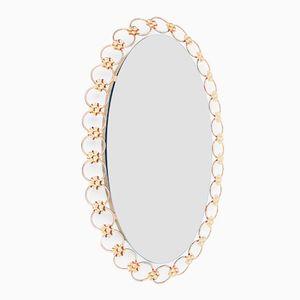 Italian Mid-Century Backlit Brass Wall Mirror