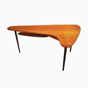 Dänischer Schreibtisch in Organischer Form mit Schwebendem Regal, 1960er