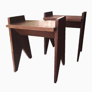 Holz Nachttische, 1950er, 2er Set