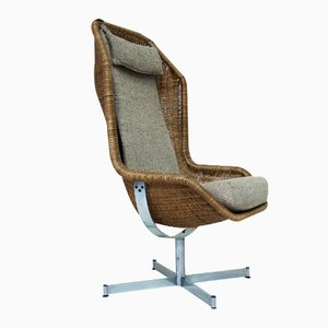 Dutch 736 Rattan Swivel Armchair by Dirk Van Sliedregt for Gebroeders Jonkers, 1960s